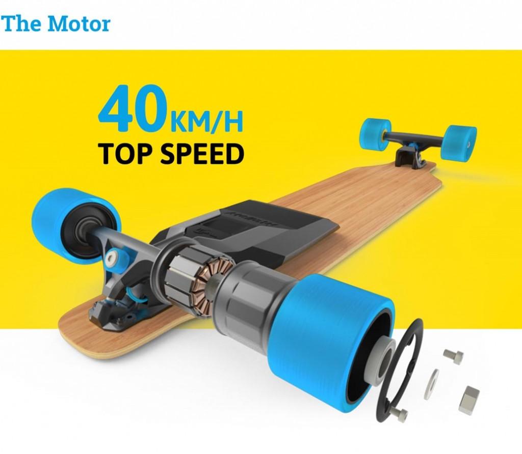 Mellow Boards: Der Antrieb befindet sich in den Rollen und ist damit sehr effektiv. Bis zu 40 km/h sind dadurch erzielbar. (Quelle: Mellow Boards)