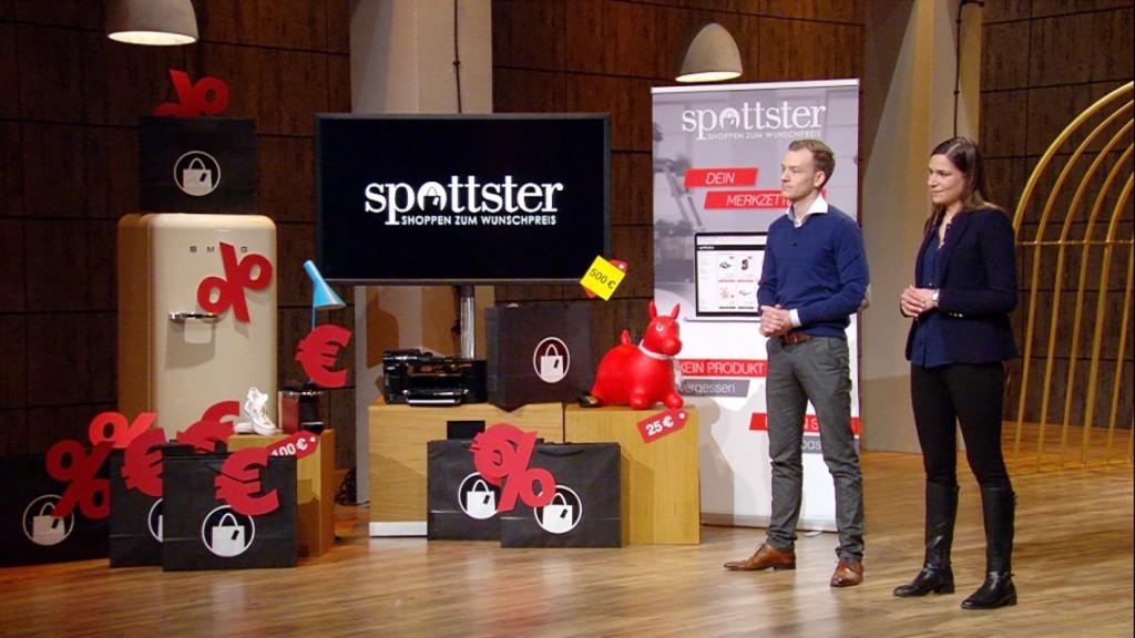 Spottster bei DHDL: Gründer Freya Oehle und Tobias Kempkensteffen. © VOX/Sony