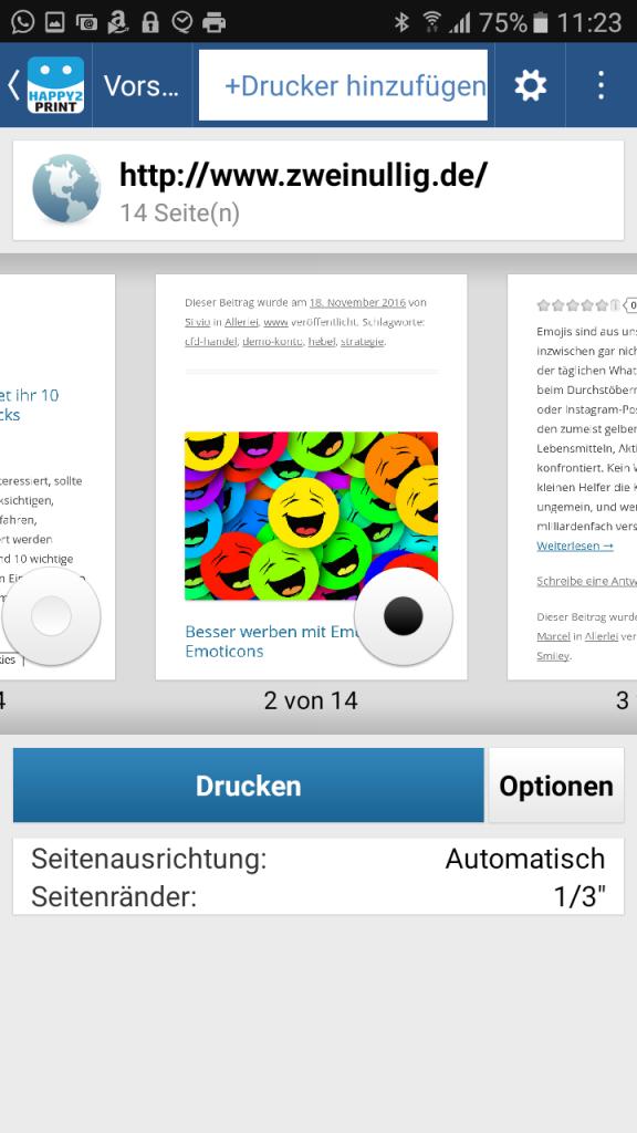 Für den Test habe ich einen Beitrag von zweinullig.de gedruckt.